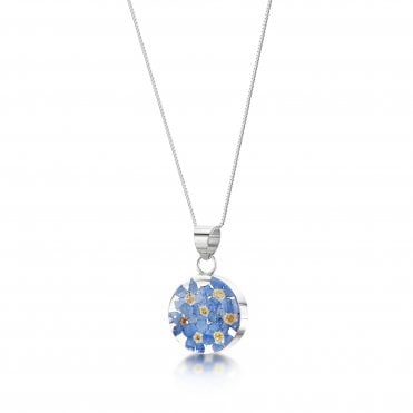 Forget-Me-Not Round Medium Silver Pendant Necklace
