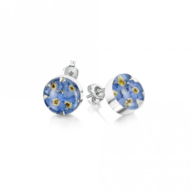 Shrieking Violet Forget-Me-Not Round Silver Stud Earrings