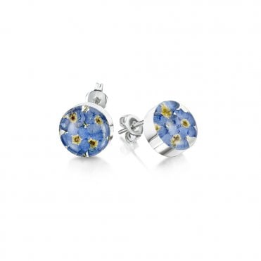 Forget-Me-Not Round Silver Stud Earrings