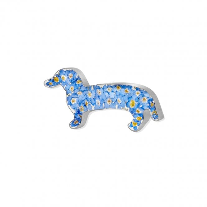 Shrieking Violet Forget-Me-Not Silver Dachshund Sausage Dog Brooch