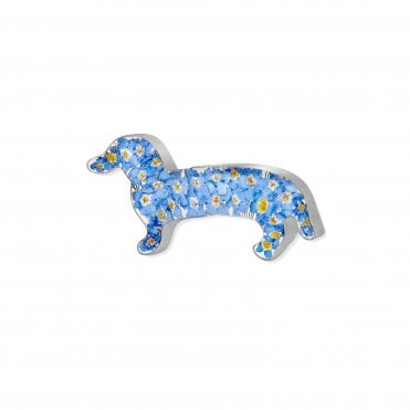 Forget-Me-Not Silver Dachshund Sausage Dog Brooch