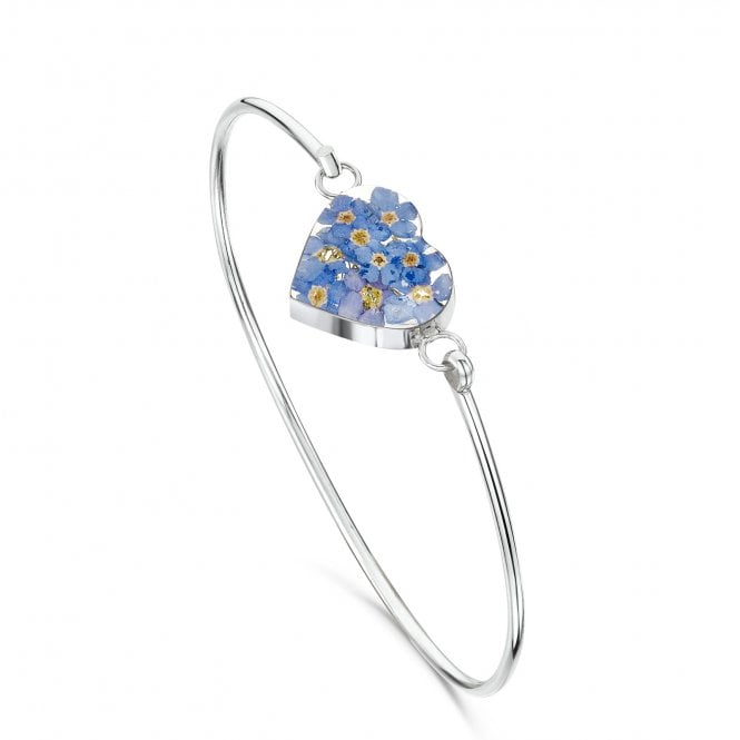Shrieking Violet Forget-Me-Not Silver Heart Bangle