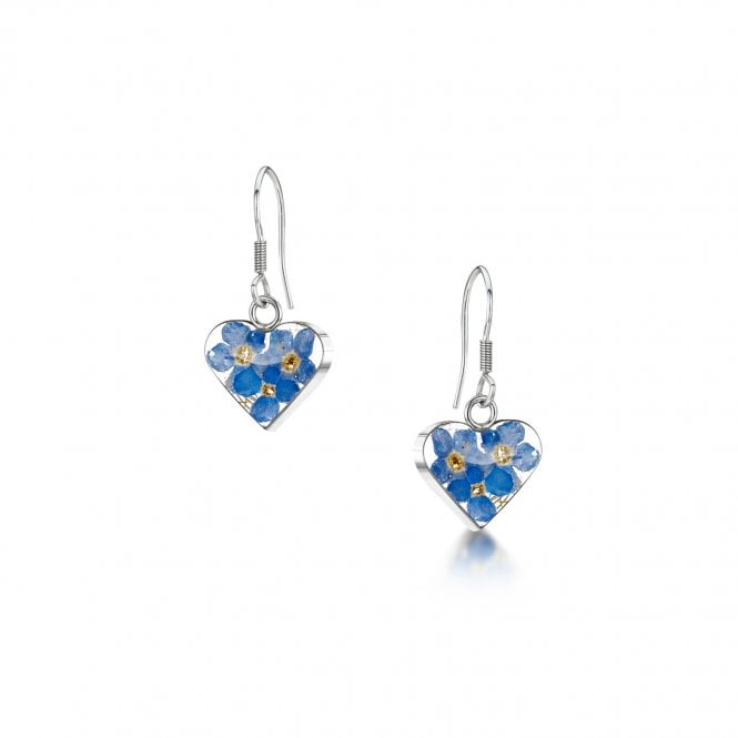 Shrieking Violet Forget-Me-Not Silver Heart Drop Earrings