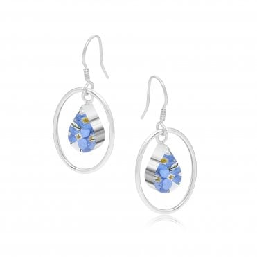 Forget-Me-Not Silver Oval Surround Earrings