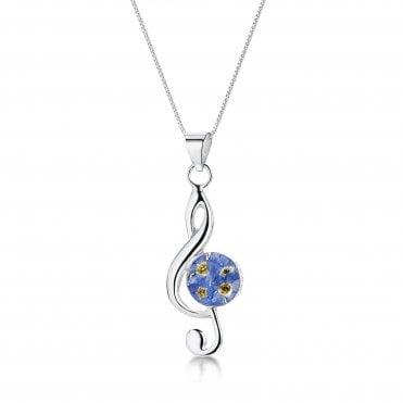 Forget-Me-Not Treble Clef Silver Pendant Necklace