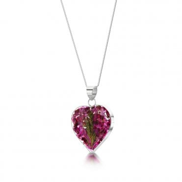 Heather Med Heart Silver Pendant Necklace