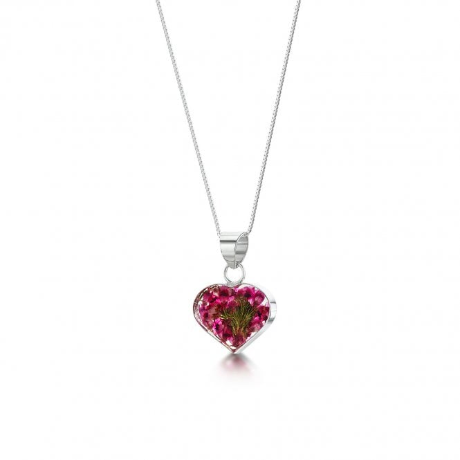 Shrieking Violet Heather Small Heart Silver Pendant Necklace