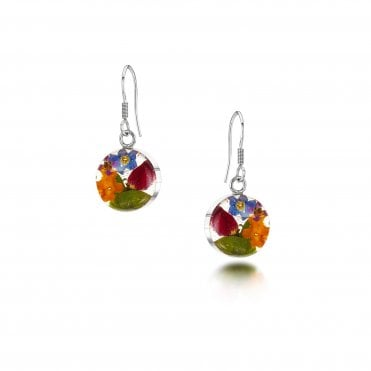 Mixed Flower Round Drop Earrings