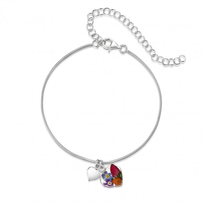 Shrieking Violet Mixed Flowers Silver Heart Bracelet / Anklet