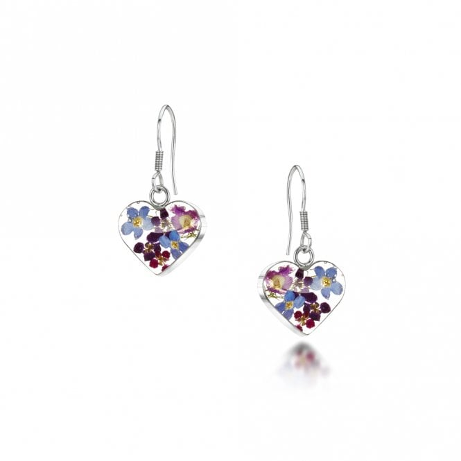 Shrieking Violet Purple Haze Small Heart Silver Drop Earrings