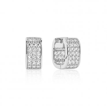 d0266ae37 Matera Silver and White CZ Hoop Earrings