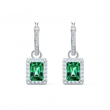 Angelic Rectangular Green Crystal Pierced Earrings in Rhodium Silver