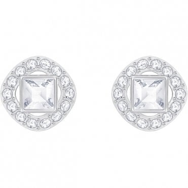 Angelic Square White Crystal Pave Earrings in Rhodium Silver