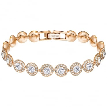 Angelic White Crystal Bracelet in Rose Gold