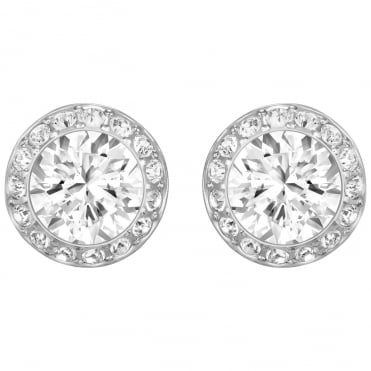 Angelic White Crystal Pave Earrings in Rhodium Silver