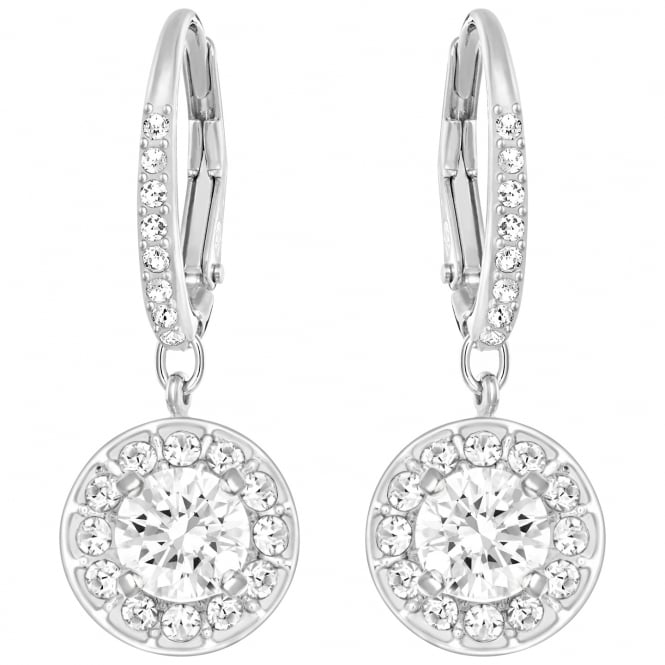 Swarovski Attract Light White Crystal Earrings in Rhodium Silver
