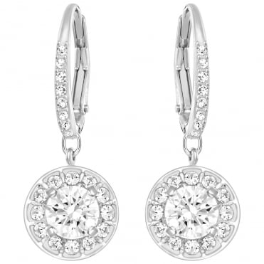 Attract Light White Crystal Earrings in Rhodium Silver