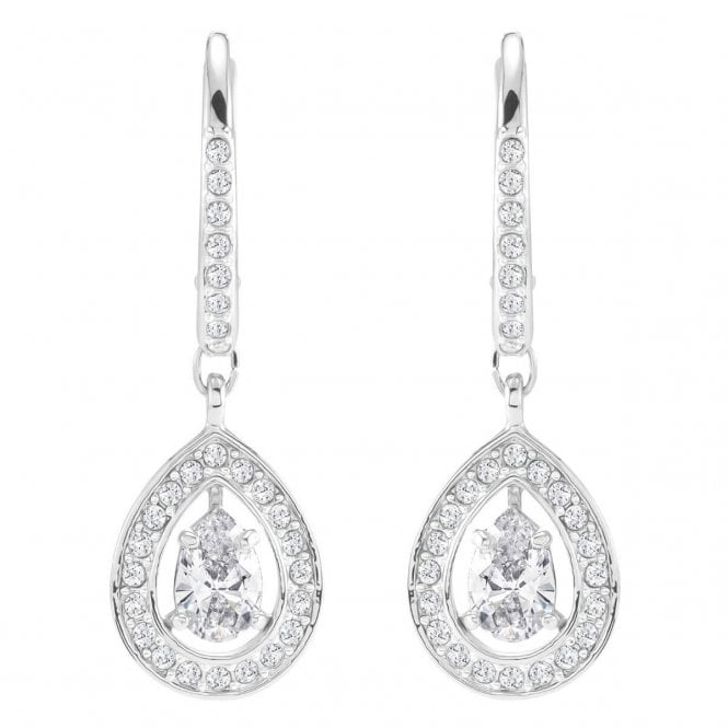 Swarovski Attract Pear White Crystal Earrings in Rhodium Silver