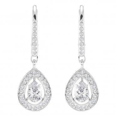Attract Pear White Crystal Earrings in Rhodium Silver