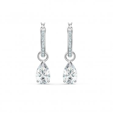 Attract Pear White Crystal Mini Hoop Pierced Earrings in Rhodium Silver