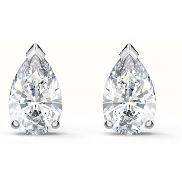 Attract Pear White Crystal Stud Earrings in Rhodium Silver