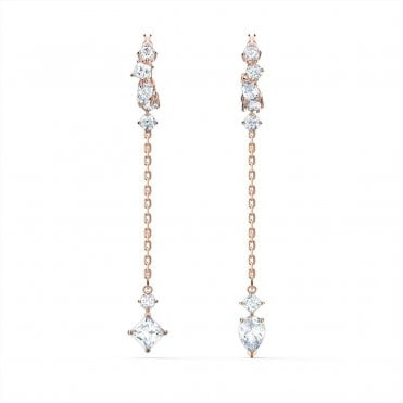 Attract Pierced Earrings with White Crystal in Rose Gold