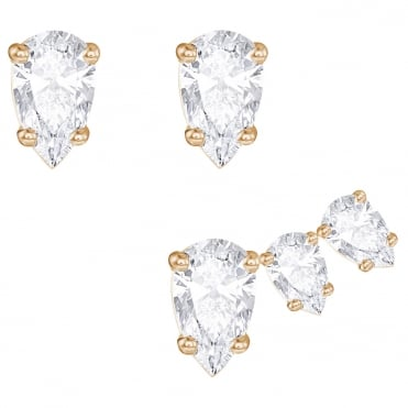 Attract Rose Gold & White Crystal Pear Earrings
