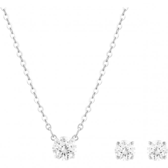 Swarovski Attract Round White Crystal Necklace and Earrings Set in Rhodium Silver