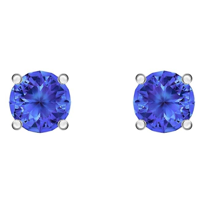 Swarovski Attract Sapphire Blue Crystal Stud Earrings in Rhodium Silver