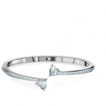 Attract Soul Heart Bangle in Rhodium Silver