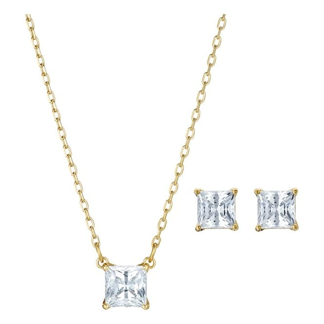 Swarovski Attract Square White Crystal Necklace and Earrings Set in Yellow Gold Tone