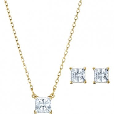 Attract Square White Crystal Necklace and Earrings Set in Yellow Gold Tone