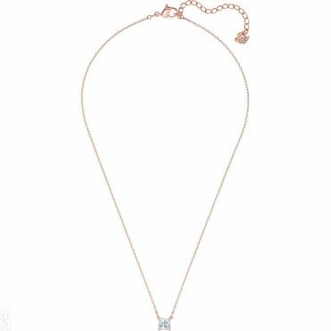 Attract White Crystal Square Necklace in Rose Gold, 38cm