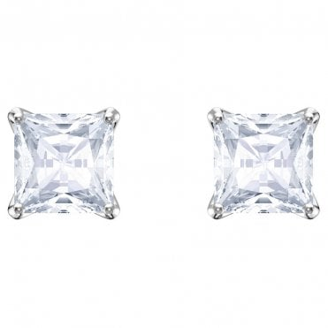 Attract White Crystal Square Stud Earrings in Rhodium Silver