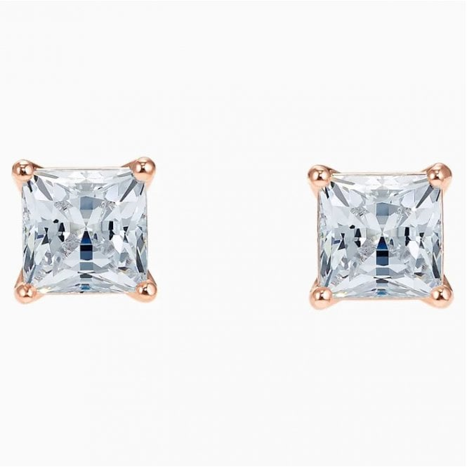 Swarovski Attract White Crystal Square Stud Earrings in Rose Gold
