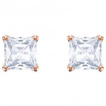 Attract White Crystal Square Stud Earrings in Rose Gold