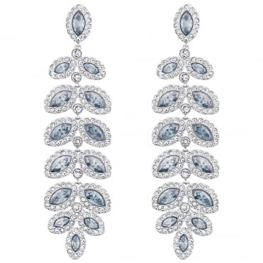 Baron Rhodium Blue & White Crystal Earrings