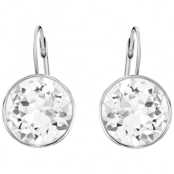 Swarovski Bella White Crystal Earrings in Rhodium Silver