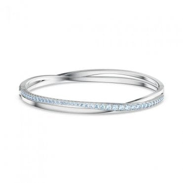 Blue Crystal Rhodium Plated Twist Bangle
