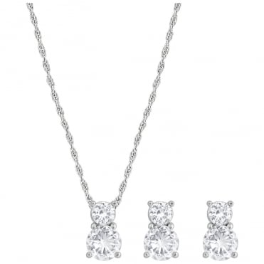 Brilliance Rhodium & White Crystal Pendant Necklace & White Crystal Earrings Set