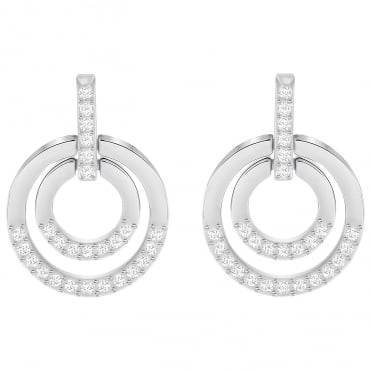 Circle Medium Rhodium & White Crystal Pierced Earrings