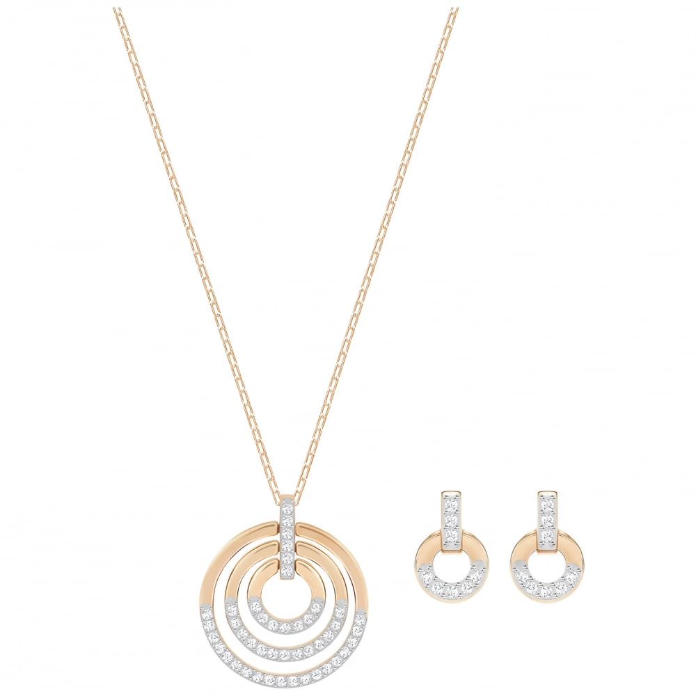 e42fa862e Circle Medium White Crystal Pendant Necklace and Earrings Set in Rose Gold