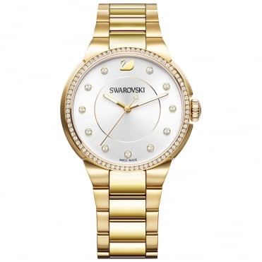 City Yellow Gold Tone Crystal Watch