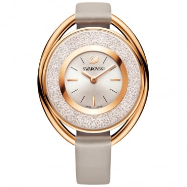 Crystalline Oval Rose Gold Tone Watch With Grey Strap