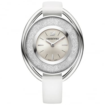 Crystalline Oval Silver Coloured Watch With White Strap