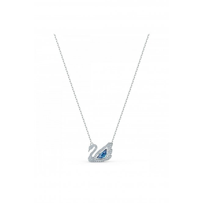 Swarovski Dancing Swan White and Blue Crystal Pendant Necklace in Rhodium Silver, 38cm