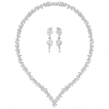 Diapason White Crystal Rhodium All-Round V Necklace & Earrings Set