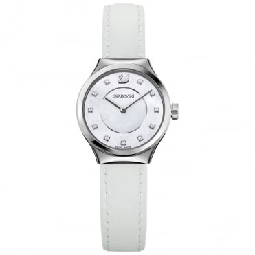 Dreamy White Watch With Crystal Markers