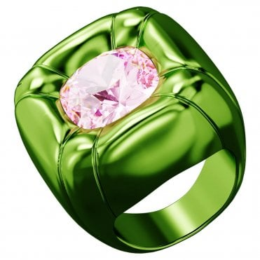 Dulcis Cocktail Ring with Pink Crystal in Green, Size: 58