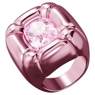 Dulcis Cocktail Ring with Pink Crystal in Pink, Size: 58